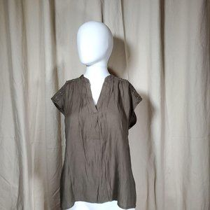 greylin olive green pleated blouse